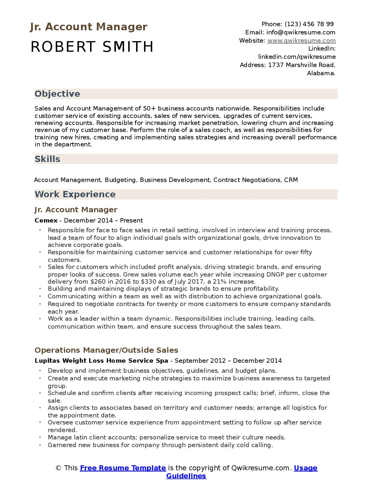 junior account manager resume