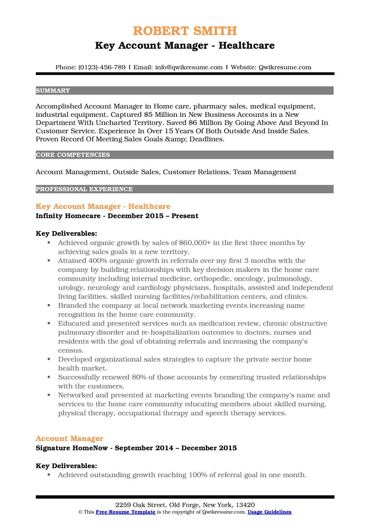 key account manager resume