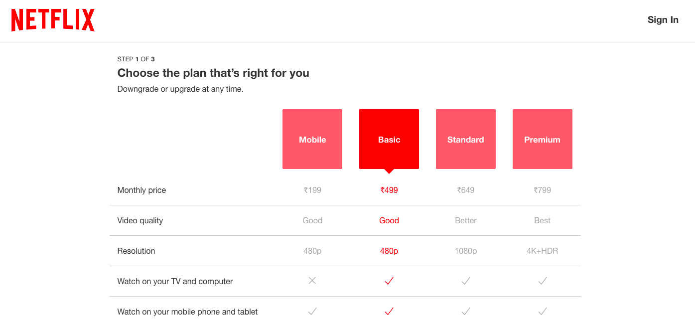 Example of Netflix on Subscription-based Pricing Model