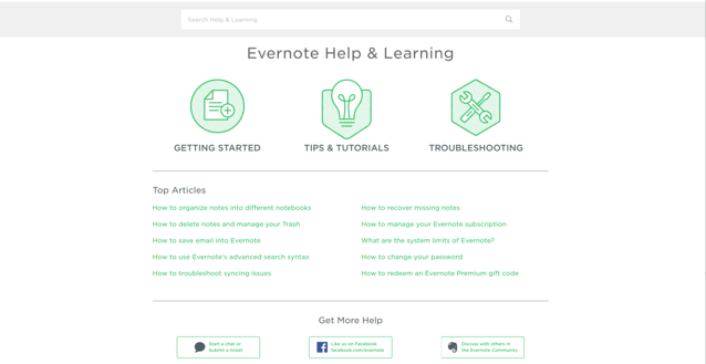Evernote's Knowledge Base