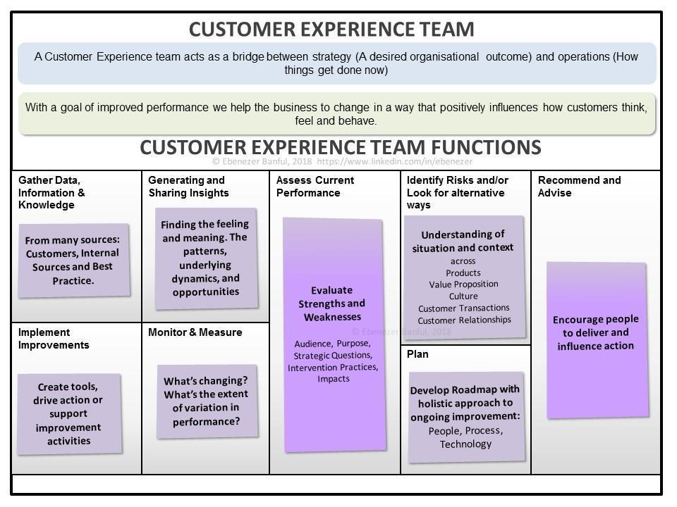 Customer experience team framework
